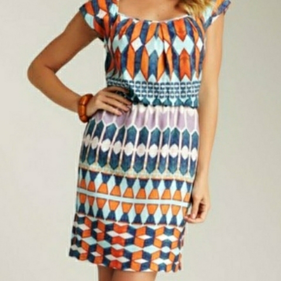 Jessica Simpson Short Sleeve Dress Trapunto Stitch